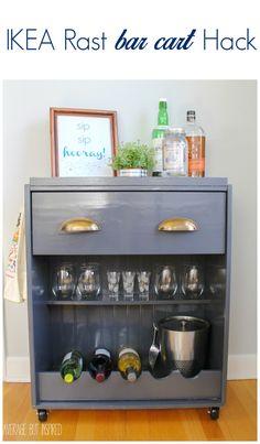 Transform a plain IKEA Rast dresser into a fun bar cart with this tutorial!