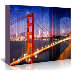 "East Urban Home City Art Golden Gate Bridge Composing Graphic Art on Wrapped Canvas Size: 16"" H x 20"" W x 1.5"" D"