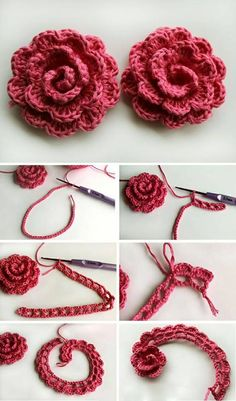 Crocheting a beautiful rose flower
