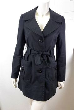 WOMEN KENNETH COLE NEW YORK single breasted belted trench coat size S black #KennethColeNewYork #Trench