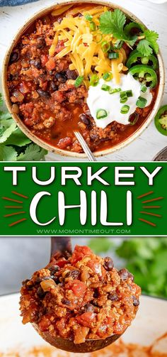 This incredibly easy Turkey Chili recipe is delicious, hearty, healthy and has amazing flavor! A perfect blend of spices, ground turkey, tomatoes and beans. Don't forget the toppings! // Mom On Timeout #turkeychili #chili #soup #turkeyrecipes #dinnerideas #dinnerrecipes