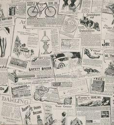 Papel Pintado recortes de periodicos blanco y negro - 1660-6132