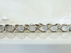 Chuck Clemency Rainbow Moonglow Moonstone Sterling Silver 925 Bracelet #Handmade #Chain Sterling Jewelry, Gemstone Jewelry, Sterling Silver, Small Heart, Wholesale Jewelry, Rainbow, Jewels, Chain, Gemstones