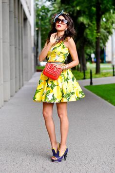 Lemon Dress   # via @Joyce Novak Main de Sosa  love it with the cobalt shoes