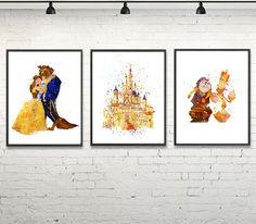 Beauty And The Beast Watercolor Print Disney Art by gingerkidsart