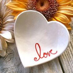Heart Shaped Ring & Trinket Bowl  Ceramic Text by SayYourPiece, $15.00