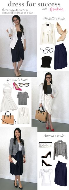 Three different ways to wear a convertible dress as a skirt! Great for wearing to work with a blazer and basic tee!