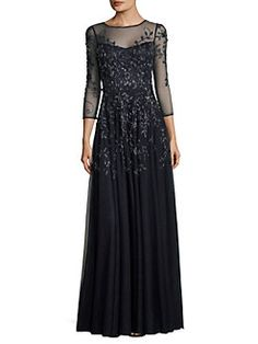 Theia - Beaded Embroidered Gown