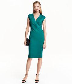 Figurnära trikåklänning | Petrol | Ladies | H&M SE