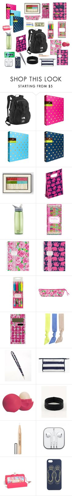 """""""What's in my school backpack"""" by preppyprep101 ❤ liked on Polyvore featuring The North Face, Kate Spade, Lilly Pulitzer, CamelBak, Splendid, Vineyard Vines, Eos, lululemon, Clinique and Tory Burch"""