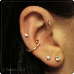 Conch | Helix | Lobe | Forward Helix | High Lobe piercing & jewlery -- BVLA, Etsy, Anatometal. Piercings done by Zack at 4Forty4 Tattoo-Tucson, AZ