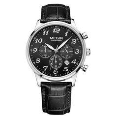 MEGIR New Chronograph 24 Hours Men Watch Leather Strap Business Casual Watch Quartz Watch Men Wristwatch