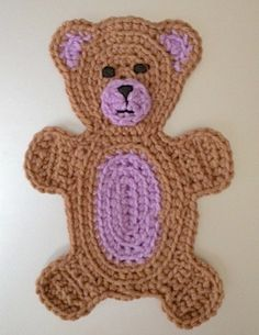 Beary Cute Teddy Bear Applique Crochet by TheBlueStarBoutique