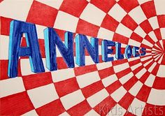 perspective and op art Op Art Lessons, Art Lessons Elementary, Art Mots, Classe D'art, 7th Grade Art, Perspective Art, Ecole Art, Artists For Kids, Name Art