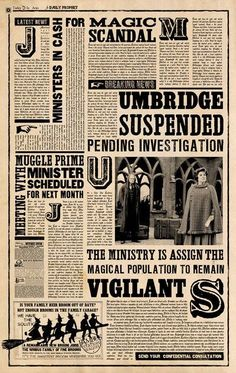 Daily Prophet: Umbridge suspended, pending investigation.