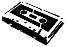 Cassette tape black and white stencil