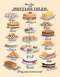 Classic Cakes Art Print by Kelly Hall at King & McGaw kitchen Tee Sandwiches, English Tea Sandwiches, Tea Party Sandwiches, Finger Sandwiches, British Cake, British Party, British Tea Time, British Things, Simply Yummy