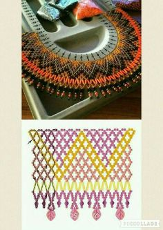 Several netting stitch beading patterns for various projects - bracelet, necklace, collars, earrings Beaded Jewelry Designs, Seed Bead Jewelry, Bead Jewellery, Seed Beads, Bugle Beads, Diy Jewelry Tutorials, Beading Tutorials, Beading Patterns Free, Free Pattern