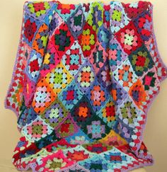 Handmade CAROUSEL Crochet Granny Square Bright by Thesunroomuk, £125.00