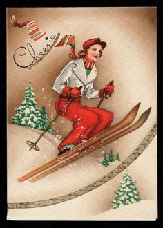 """A vintage Christmas card with a lady skiing and saying """"Cheerio! Vintage Christmas Images, Old Christmas, Old Fashioned Christmas, Retro Christmas, Vintage Holiday, Christmas Pictures, Christmas Girls, Vintage Greeting Cards, Christmas Greeting Cards"""
