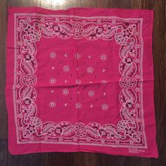 Vintage Hot Pink Fast Color USA Bandana RN 13960 | eBay