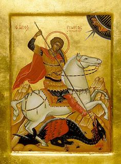 Saint George, hand-painted