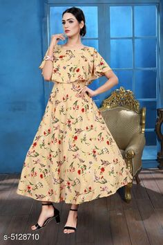 Checkout this latest Dresses Product Name: *Printed Beige Calf-Length Crepe Dress* Fabric: Crepe Sleeve Length: Short Sleeves Pattern: Printed Multipack: 1 Sizes: S, M (Bust Size: 38 in, Length Size: 50 in)  L, XL, XXL Country of Origin: India Easy Returns Available In Case Of Any Issue   Catalog Rating: ★4 (631)  Catalog Name: Stylish Retro Women Dresses CatalogID_756964 C79-SC1025 Code: 023-5128710-738