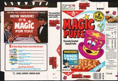 General Mills brand Magic Puffs cereal, with a back of box tie-in that actually has relevance to the front!