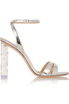 Gianvito Rossi Perspex-heeled metallic leather sandals | NET-A-PORTER
