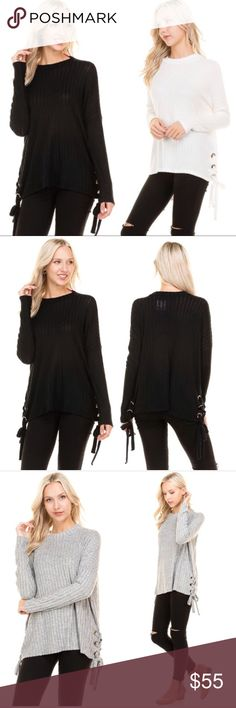 Side lace brush knit top  (S M L) Super cute side lace brushed knit top in black  with ribbing detail. Gold rings on side where lace up detail is. Smoke free & pet free home ✨ bundle & save  Tops