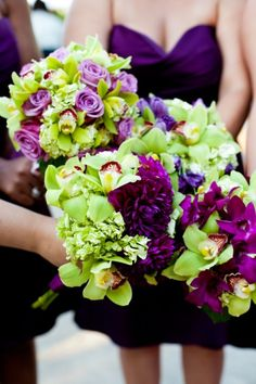 purple and green. pretty bouquets. I wish it was easier to get unique flowers like these besides weddings.