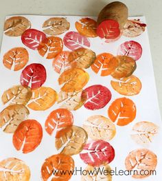 potato leaf stamping art project
