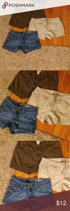 Shorts bundle trio weekend sale Jeans shorts are Mossimo size 3. Super cute kinda stretchy. Nice pockets. Khaki shorts are cargo style short Aeropostale size 1/2 so the pockets make pretty much any butt look good :) Last pair is a brown pair. Slightly longer than short. Cherokee XL. Cute on. All have pockets some smaller or bigger than others. $4 ea. Or all 3 for $10. Make an offer Shorts