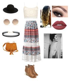 """""""Coachella with Dylan O'Brien ☀"""" by llynaxs on Polyvore featuring WearAll, JustFab, Studio 253, See by Chloé, Hinge, LULUS and Lime Crime"""