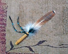 Red Tail Hawk Smudge Fan Prayer Feather by SpiritedGifts on Etsy