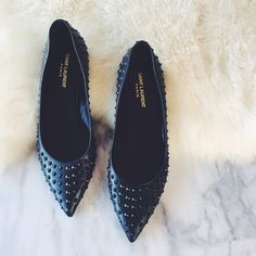 Saint Laurent Studded Pointy Toe Flats •Authentic black leather studded pointy toe flats by Saint Laurent.  •Size EU39.5/US9.5, true to size.  •Display shoe, like new condition. Soles have been refinished. Original box/dustbags/tags/receipt NOT included.  •NO TRADES/PAYPAL/MERC/VINTED/NONSENSE. Saint Laurent Shoes Flats & Loafers