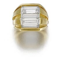GOLD AND DIAMOND RING, SUZANNE BELPERRON, CIRCA 1945. Set with five baguette diamonds, in a tapered yellow gold mount, size 43, French assay marks, unmarked. From the personal collection of Suzanne Belperron