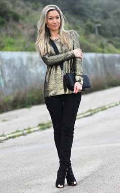 look do dia, ootd, outfit, personal stylist, blog de moda, blogs de moda, casual chic, metallic trend, tendência metalizado, golden sweater,...