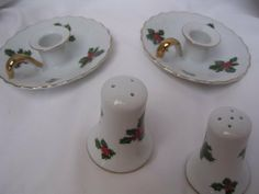 Lefton China Collectible Christmas Candleholders Salt & Pepper Shakers by Lefton. $29.95