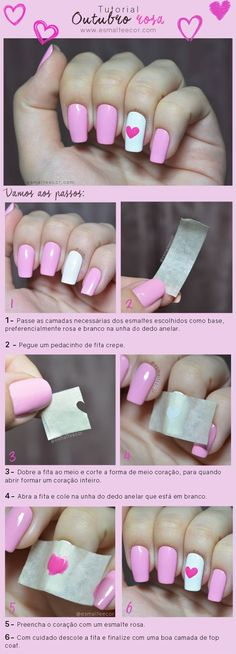 Nail art diy heart nailart new Ideas Nail Art Hacks, Gel Nail Art, Nail Art Diy, Diy Nails, Nail Polish, Diy Art, Stylish Nails, Trendy Nails, Diy Beauty Nails
