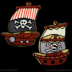 pirate ship cookies skull and crossbones