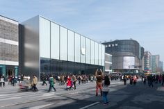 Apple store Foster and Partners interior « Inhabitat – Green Design, Innovation, Architecture, Green Building Apple Building, Green Building, Exterior Angles, Foster Partners, Zhengzhou, West Lake, Retail Shop, Contemporary Architecture, Store Design