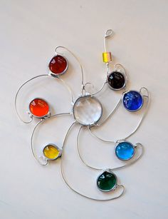 Rainbow Swirled Gems Stained Glass Suncatcher