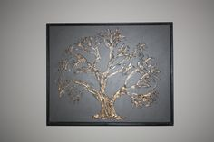 """Brown and Gold Textured Tree Painting 16""""x20"""". $35.00, via Etsy."""