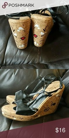 Strappy sandal ..wedge heel Never worn ..very fun looking sandal Pretty Shoes Wedges
