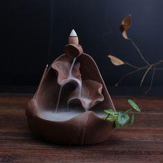 Lotus Pruple Clay Ceramic Craft Smoke Backflow Incense Burner Handicraft Buddhist Supplies Home Decor Gift And Craft-in Incense & Incense Burners from Home & Garden on Aliexpress.com | Alibaba Group