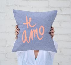 Grey and Neon Coral Te Amo Pillow, 12x12 inches. $55.00, via Etsy.