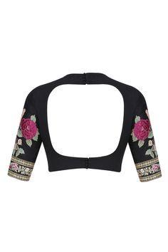 Dark pink and black cutwork brocade pallu saree with embroidered blouse piece… Brocade Blouse Designs, Fancy Blouse Designs, Saree Blouse Patterns, Salwar Kameez, Navratri Dress, Stylish Blouse Design, Collor, Embroidery Fashion, Saree Styles