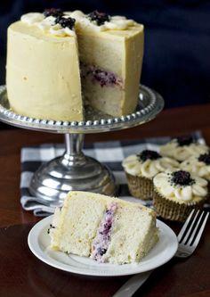 vanilla cake with blackberry mascarpone filling.