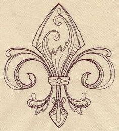 Vintage Fleur De Lis Tattoo Drawing